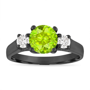 Peridot and Diamonds Engagement Ring, 1.55 Carat Vintage Peridot Wedding Ring, Three Stone Engagement Ring, 14K Black Gold Certified
