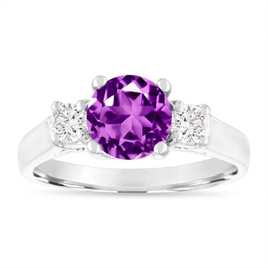 1.55 Carat Amethyst Engagement Ring, Three Stone Engagement Ring, Amethyst and Diamonds Wedding Ring, 14K White Gold Birthstone Certified