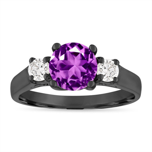 Amethyst and Diamonds Engagement Ring, Three Stone Engagement Ring, 1.55 Carat Purple Amethyst Wedding Ring, 14K Black Gold Certified