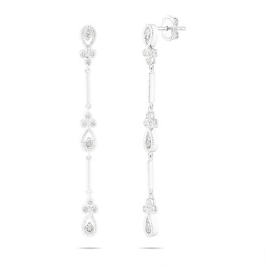 Diamond Dangle Earrings, Bridal Drop Earrings, Anniversary Gift, 14K White Gold 0.70 Carat Handmade 2.25 Inch Unique Certified