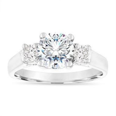1.40 Carat Moissanite Engagement Ring, Forever Brilliant Moissanite & Diamonds Wedding Ring, 14K White Gold