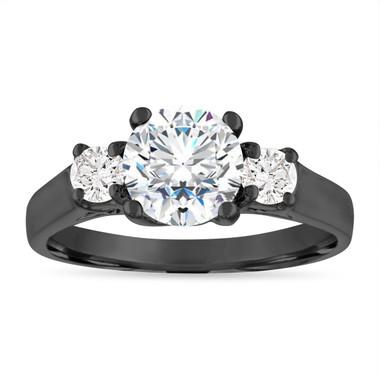 Forever Brilliant Moissanite & Diamonds Engagement Ring, Vintage Wedding Ring, 1.40 Carat 14K Black Gold Handmade