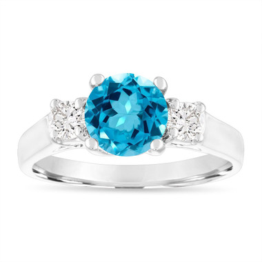 1.55 Carat Blue Topaz Engagement Ring, Blue Topaz and Diamonds Wedding Ring, 14K White Gold Birthstone Certified