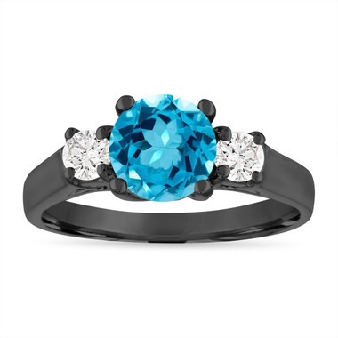 Blue Topaz Engagement Ring, Blue Topaz and Diamonds Vintage Wedding Ring, 14K Black Gold Birthstone Certified