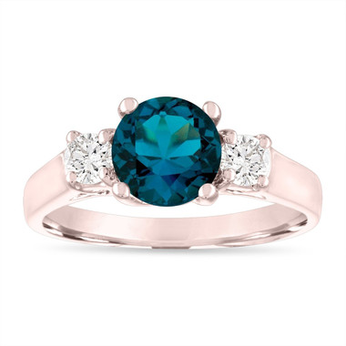 1.55 Carat London Blue Topaz Engagement Ring, Anniversary Ring, 14K Rose Gold Birthstone Certified