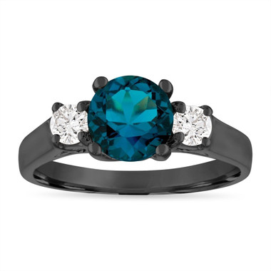 London Blue Topaz Engagement Ring, Vintage Anniversary Ring, 14K Black Gold 1.55 Carat Birthstone Certified Handmade