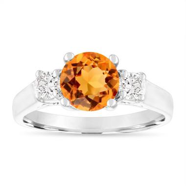 1.35 Carat Citrine Engagement Ring, Citrine and Diamonds Wedding Ring, 14K White Gold Birthstone Certified