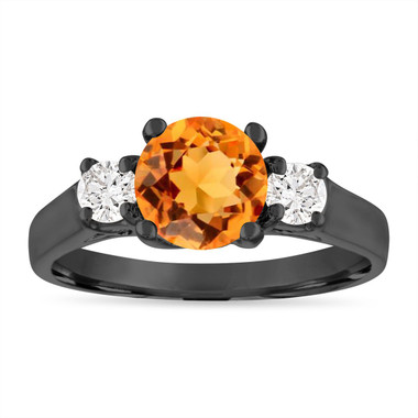 Citrine Engagement Ring Vintage, Citrine and Diamonds Wedding Ring, 1.35 Carat 14K Black Gold Birthstone Certified