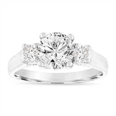 1.50 Carat Diamond Engagement Ring, Three Stone Engagement Ring, 14K White Gold GIA Certified Handmade