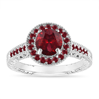 1.55 Carat Garnet Engagement Ring, Garnet Wedding Ring, Vintage Engagement Ring, Halo Pave 14K White Gold Certified Handmade Unique