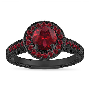 Garnet Engagement Ring Vintage, Garnet Wedding Ring, Anniversary Ring, 1.55 Carat Halo Pave 14K Black Gold Certified Handmade Unique