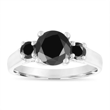 Black Diamond Engagement Ring White Gold, Three Stone Engagement Ring, 2.10 Carat Certified