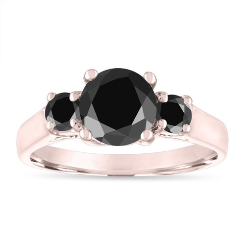 Black Diamond Engagement Ring Rose Gold, Three Stone Engagement Ring, 2.10 Carat Certified