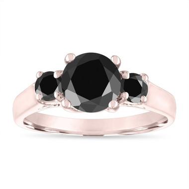 Black Diamond Engagement Ring Rose Gold, Three Stone Engagement Ring, 2.10 Carat Certified