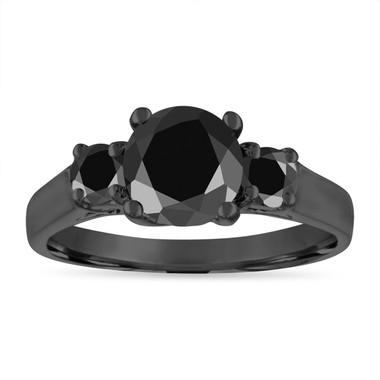 Black Diamond Engagement Ring, Vintage Wedding Ring, 14K Black Gold 2.10 Carat Certified Handmade