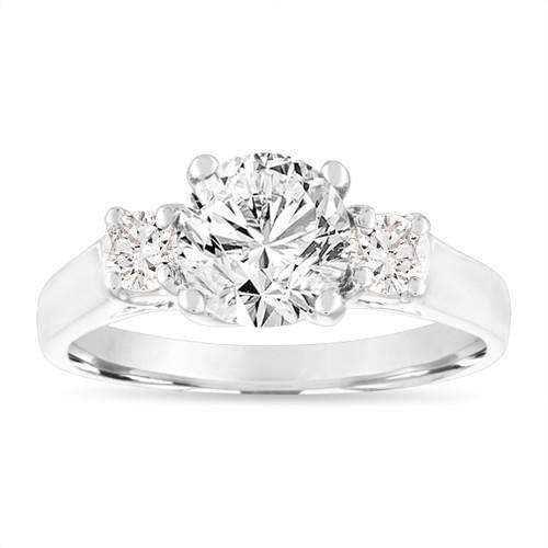 Platinum Diamond Engagement Ring, Three Stone Engagement Ring, 1.50 Carat GIA Certified Handmade