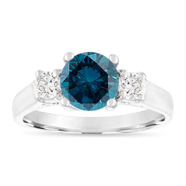 1.65 Carat Blue Diamond Engagement Ring, Three Stone Engagement Ring, 14K White Gold Certified Handmade