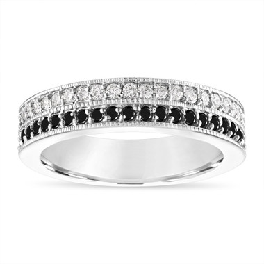 Black and White Diamond Wedding Band, Two Row Half Eternity Diamonds Wedding Ring, 4 mm Anniversary Ring 14K White Gold 0.45 Carat Handmade