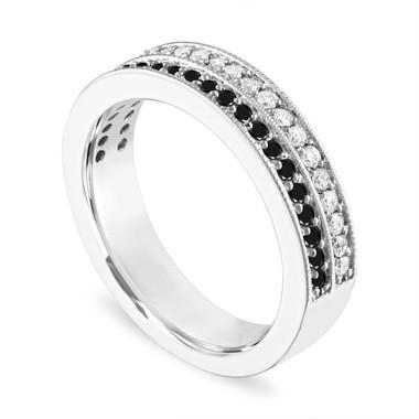 Platinum Black and White Diamond Wedding Ring, Double Row Half Eternity Diamonds Wedding Band, 4 mm Anniversary Ring 0.45 Carat Handmade