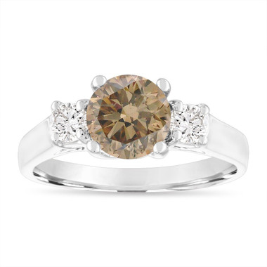 1.70 Carat Champagne Diamond Engagement Ring, Three Stone Engagement Ring, Fancy Brown Diamond Bridal Ring, 14K White Gold Certified
