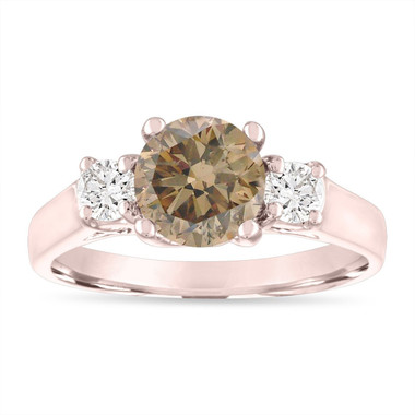 Rose Gold Champagne Diamond Engagement Ring, Three Stone Engagement Ring, 1.80 Carat Fancy Brown Diamond Bridal Ring, Handmade Certified