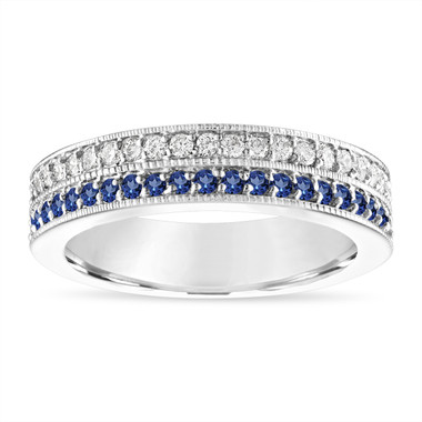 Sapphire and Diamonds Wedding Band, Two Row Half Eternity Wedding Ring, 4 mm Anniversary Ring 14K White Gold 0.45 Carat Handmade Unique