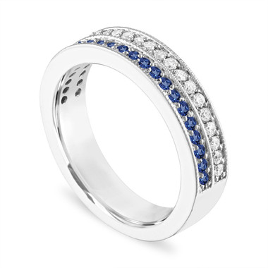 Platinum Sapphire and Diamonds Wedding Band, 4 mm Two Row Half Eternity Wedding Ring, Anniversary Ring, 0.45 Carat Handmade Unique