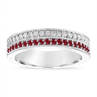 Ruby and Diamonds Wedding Band, Half Eternity Ruby Wedding Ring, 4 mm Two Row Anniversary Ring 14K White Gold 0.45 Carat Handmade Unique