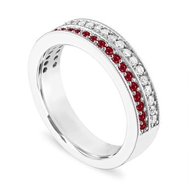 Platinum Ruby and Diamonds Wedding Band, Half Eternity Ruby Wedding Ring, 4 mm Two Row Anniversary Ring, 0.45 Carat Handmade Unique