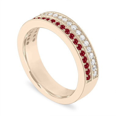 Ruby and Diamonds Wedding Ring, Half Eternity Ruby Wedding Band, 4 mm Two Row Anniversary Ring 14K Yellow Gold 0.45 Carat Handmade Unique