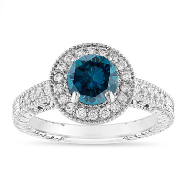 1.29 Carat Blue Diamond Engagement Ring, Blue Diamond Wedding Ring Vintage Halo Pave 14K White Gold Certified Handmade Unique