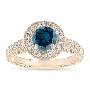 1.29 Carat Blue Diamond Engagement Ring, Blue Diamond Wedding Ring Vintage Halo Pave 14K Yellow Gold Certified Handmade Unique