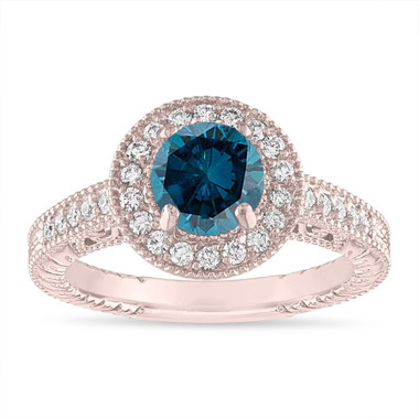 Blue Diamond Engagement Ring Rose Gold, Fancy Blue Diamond Vintage Wedding Ring, 1.29 Carat Unique Halo Pave Certified Handmade