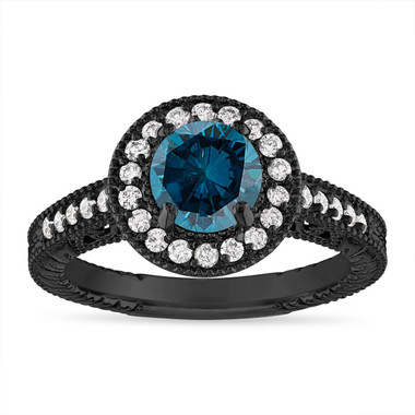 Blue Diamond Engagement Ring, Wedding Ring Vintage Halo Pave 14K Black Gold 1.29 Carat Certified Handmade Unique