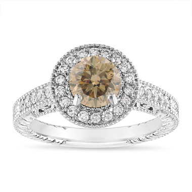 1.29 Carat Champagne Diamond Engagement Ring, Fancy Brown Diamond Wedding Ring Vintage Halo 14K White Gold Handmade Unique