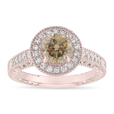 Rose Gold Champagne Diamond Engagement Ring, Fancy Brown Diamond Wedding Ring 1.29 Carat Vintage Halo Pave Handmade Unique