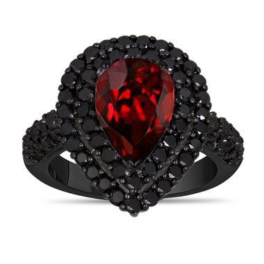 Pear Shaped Garnet Engagement Ring, With Black Diamonds Double Halo Wedding Ring, 3.33 Carat 14k Black Gold Unique Handmade Certified Pave