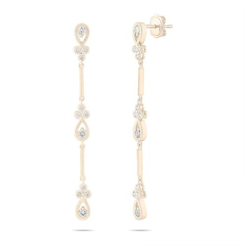 0.70 Carat Diamond Dangle Earrings, Bridal Drop Earrings, Floral Earrings, Anniversary Gift, 14K Yellow Gold Handmade 2.25 Inch Unique