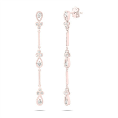 Rose Gold Diamond Dangle Earrings, Bridal Drop Earrings, Floral Earrings, Anniversary Gift, 0.70 Carat Handmade 2.25 Inch Unique