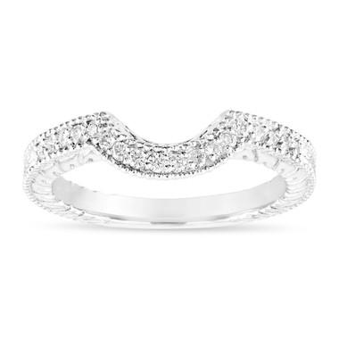 Diamond Curve Wedding Band, Matching Wedding Ring, Vintage Style Engraved Unique 14k White Gold 0.18 Carat Handmade