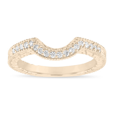 Diamond Curve Wedding Band, Matching Wedding Ring, Vintage Style Engraved Unique 14k Yellow Gold 0.18 Carat Handmade