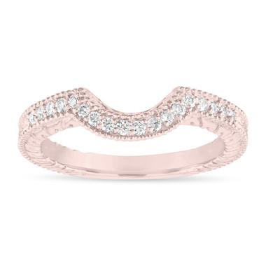 Diamond Curve Wedding Band, Matching Wedding Ring, Vintage Style Engraved Unique 14k Rose Gold 0.18 Carat Handmade