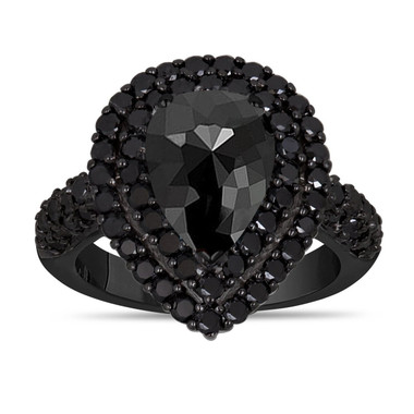 Rose Cut Pear Shaped Black Diamond Engagement Ring, Double Halo 2.83 Carat Vintage Style 14k Black Gold Unique Handmade Certified