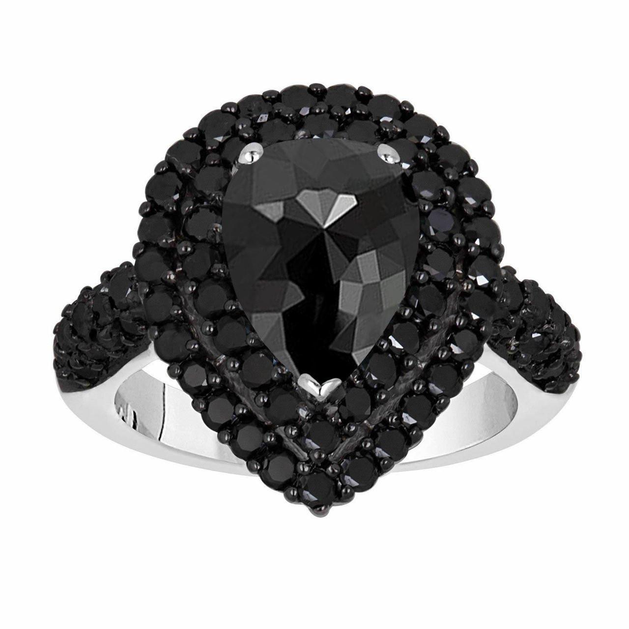 11c846977 Rose Cut Black Diamond Engagement Ring, Pear Shaped Double ...