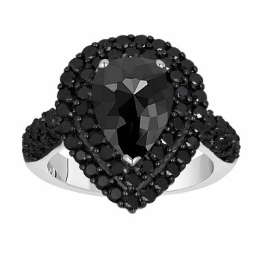 Rose Cut Black Diamond Engagement Ring, Pear Shaped Double Halo Wedding Ring, 2.70 Carat 14k White Gold Unique Handmade Certified