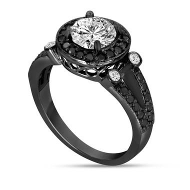 Vintage Diamond Engagement Ring, White & Black Diamonds Wedding Ring, 1.50 Carat GIA Certified Unique Bridal Ring, 14K Black Gold Halo Pave
