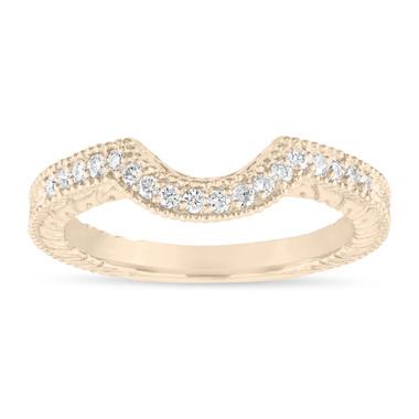 0.18 Carat Diamond Curve Wedding Band, Matching Wedding Ring, Vintage Style Engraved Unique 18k Gold or White or Rose / Black Gold,Handmade