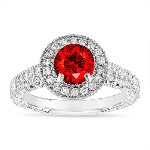 1.29 Carat Red Diamond Engagement Ring, Fancy Red Diamond Wedding Ring, Vintage Halo Pave 14K White Gold Certified Handmade Unique