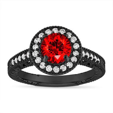 Fancy Red Diamond Engagement Ring, Vintage Wedding Ring, 1.29 Carat Halo Pave 14K Black Gold Certified Handmade Unique