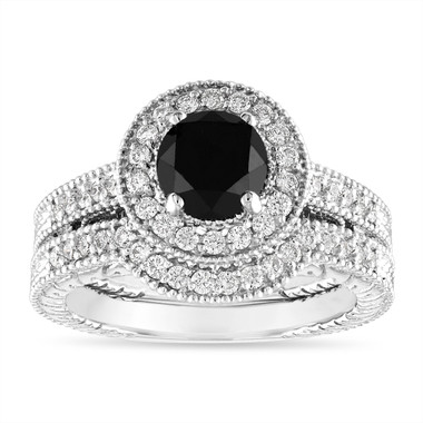 1.66 Carat Black Diamond Engagement Ring Set, Vintage Wedding Rings Sets, Halo 14K White Gold Certified Handmade Unique